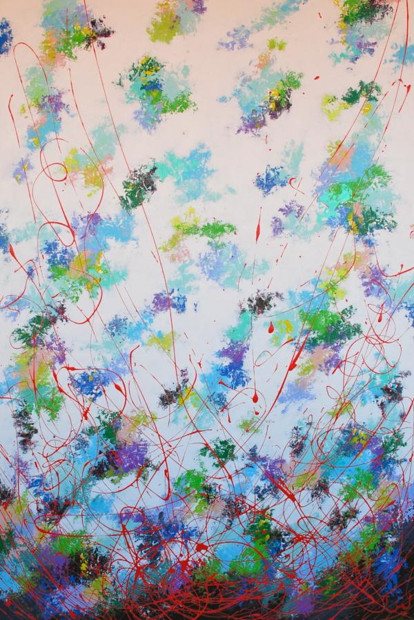 """""""Spring"""" fait partie d'une composition quadriptyque des 4 Saisons dont voici le Printemps. Cette série est l'occasion pour l'artiste d'illustrer la parfaite résonance entre l'humain et la Nature qui l'entoure. Tout ce qui est vivant répond à des étapes de mort, puis de renaissance. Ainsi cela s'étend bien au delà de la simple observation de la Nature mais elle nous emmène plus loin, vers une réflexion sur le parcours cyclique de la vie, fait de périodes sombres, de renoncement puis de renaissance. Le blanc se nourrit bien souvent du noir.. La toile """"Spring"""" est composée de couleurs fraiches, vives et pétillantes entre elles pour évoquer le thème de prédilection de l'artiste : l'éclosion de la Vie."""