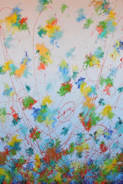 """""""Summer"""" fait partie d'une composition quadriptyque des 4 Saisons dont voici l'Eté. Cette série est l'occasion pour l'artiste d'illustrer la parfaite résonance entre l'humain et la Nature qui l'entoure. Tout ce qui est vivant répond à des étapes de mort, puis de renaissance. Ainsi cela s'étend bien au delà de la simple observation de la Nature mais elle nous emmène plus loin, vers une réflexion sur le parcours cyclique de la vie, fait de périodes sombres, de renoncement puis de renaissance. Le blanc se nourrit bien souvent du noir..La toile """"Summer"""" aux tons très lumineux évoque la force sereine de l'été où tout vit en rayonnant simplement après le tumulte du printemps."""